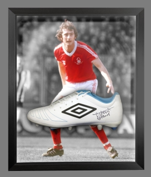 Trevor Francis Signed White Umbro Football Boot In A Acrylic Dome Frame: C
