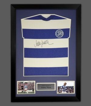 Rodney Marsh Signed Queens Park Rangers Football Shirt In A Frame