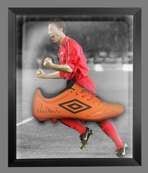 *New*Robbie Fowler Signed Orange Umbro Football Boot In An Acrylic Dome frame