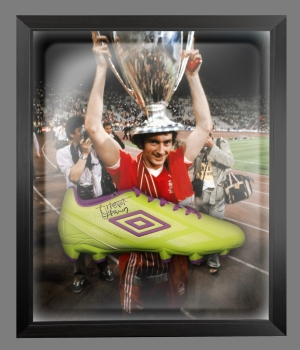 Trevor Francis Signed Green Umbro Football Boot In A Acrylic Dome Frame: B