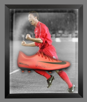 Robbie Fowler Signed Red Nike Football Boot In An Acrylic Dome frame