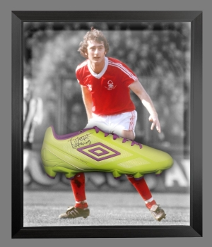 Trevor Francis Signed Green Umbro Football Boot In A Acrylic Dome Frame: A