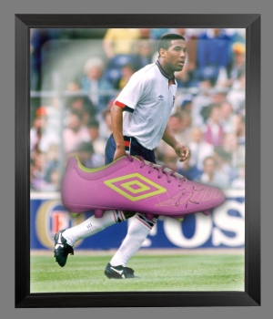 John Barnes Signed Umbro Football Boot In An Acrylic Dome frame  : C