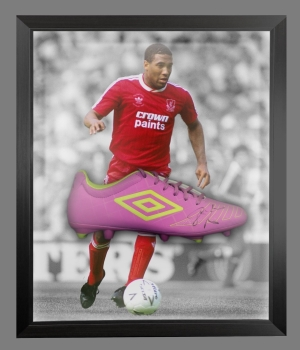 John Barnes Signed Umbro Football Boot In An Acrylic Dome frame  : B