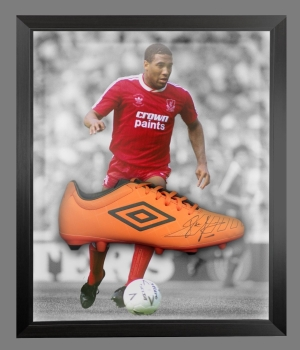 John Barnes Signed Orange Umbro Football Boot In An Acrylic Dome frame  : C