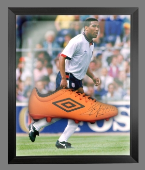 John Barnes Signed Orange Umbro Football Boot In An Acrylic Dome frame  : B