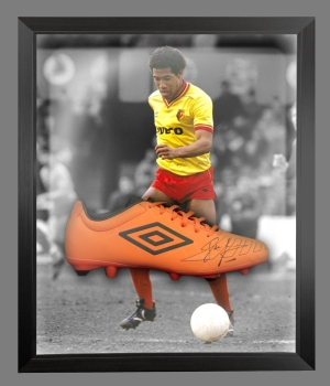John Barnes Signed Orange Umbro Football Boot In An Acrylic Dome frame  : A