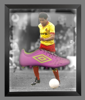 John Barnes Signed Umbro Football Boot In An Acrylic Dome Presentation  : A