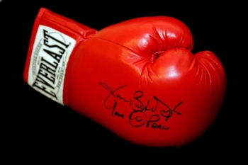 "James ""Buster"" Douglas Hand Signed Red Everlast Boxing Glove"
