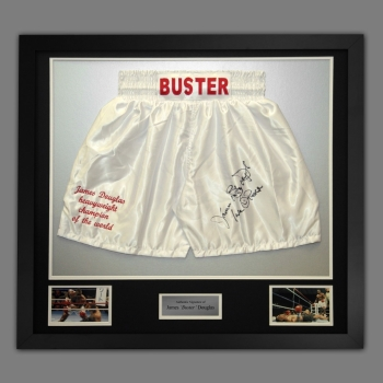 James Buster Douglas Hand Signed And Framed Custom Made Boxing Trunks