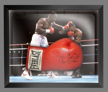 James Buster Douglas Signed Red Boxing Glove Presented In A Dome Frame : D