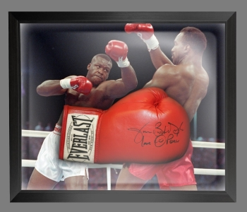 James Buster Douglas Signed Red Boxing Glove Presented In A Dome Frame : C