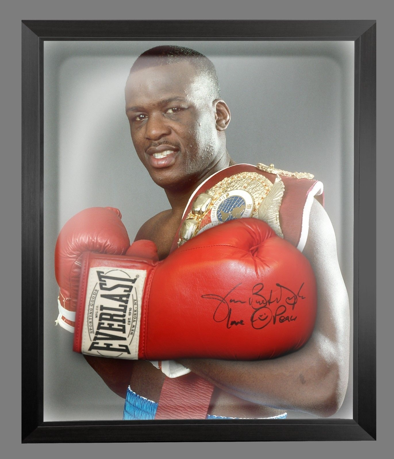 James Buster Douglas Signed Red Boxing Glove Presented In