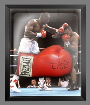 James Buster Douglas Red Boxing Glove Presented In A Dome Frame : A