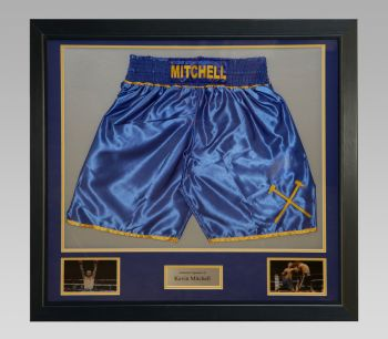Kevin Mitchell Signed Trunks In A Framed Presentation