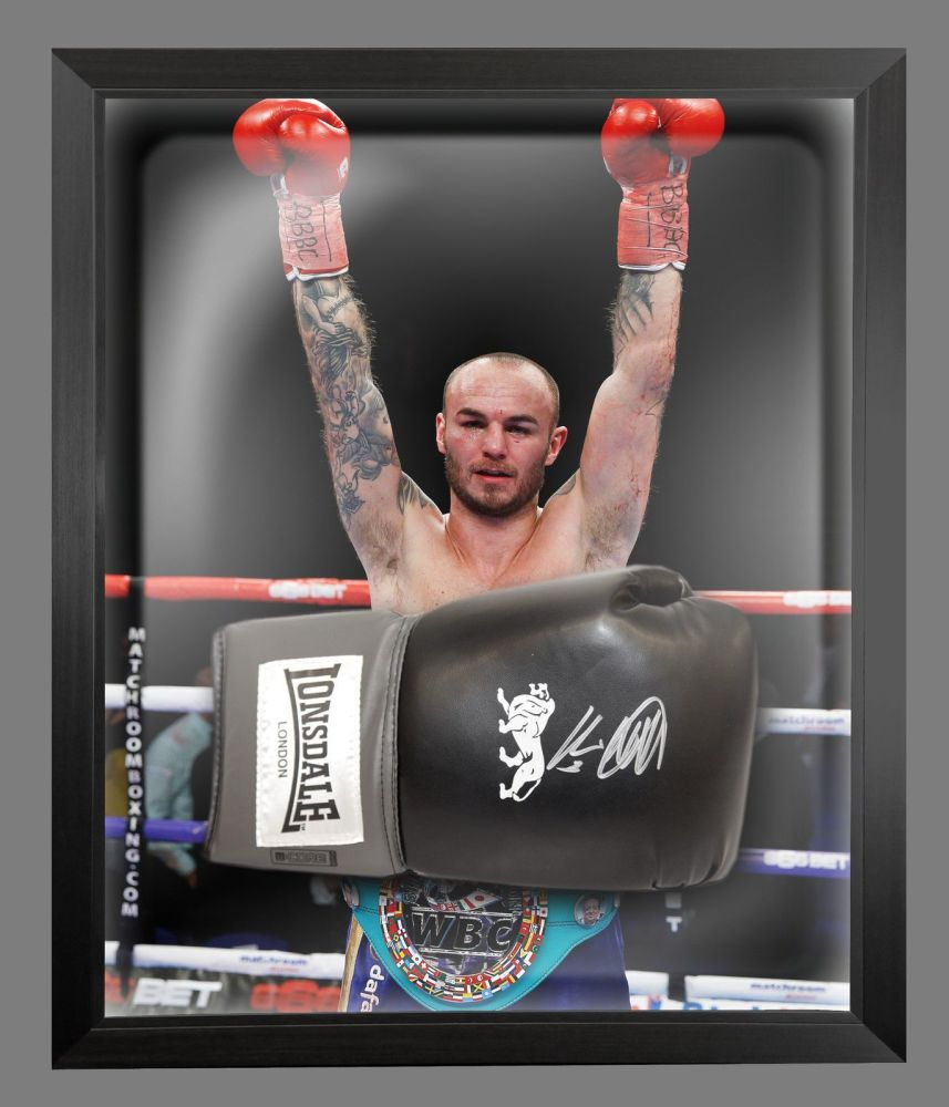 Kevin Mitchell Signed Black Boxing Glove Presented In A Dome Frame