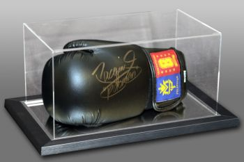 Manny Pacquiao Signed Black Boxing Glove In An Acrylic Case