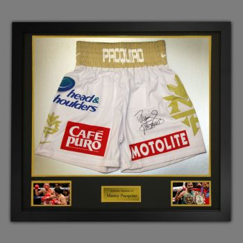 Manny Pacquiao Hand Signed Custom Made Trunks In A Framed Presentation : A