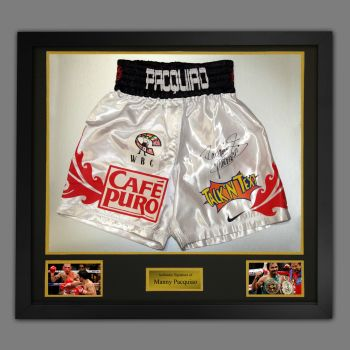 Manny Pacquiao Hand Signed Custom Made Trunks In A Framed Presentation : B