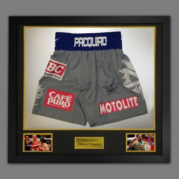 Manny Pacquiao Hand Signed Custom Made Trunks In A Framed Presentation : C