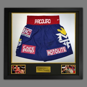 Manny Pacquiao Hand Signed Custom Made Trunks In A Framed Presentation : D