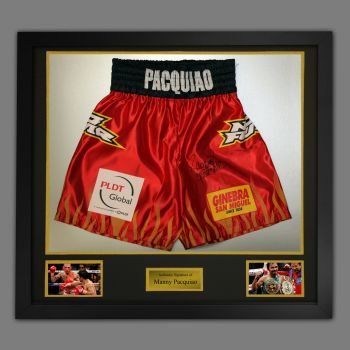 Manny Pacquiao Hand Signed Custom Made Trunks In A Framed Presentation : E