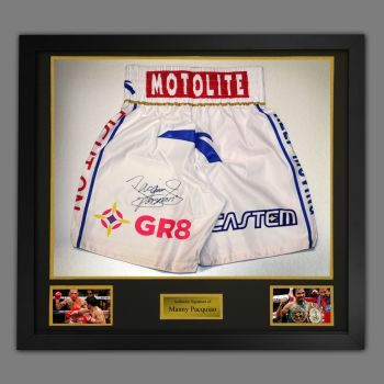 Manny Pacquiao Hand Signed Custom Made Trunks In A Framed Presentation : F