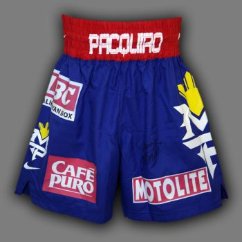Manny Pacquiao Hand Signed Custom Made Boxing Trunks : A
