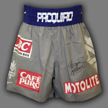Manny Pacquiao Hand Signed Custom Made Boxing Trunks : B