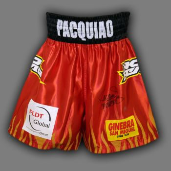 Manny Pacquiao Hand Signed Custom Made Boxing Trunks : C