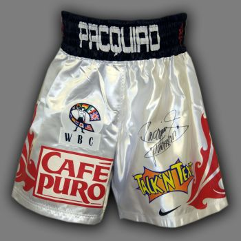 Manny Pacquiao Hand Signed Custom Made Boxing Trunks : E