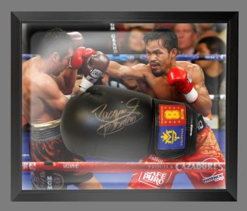 Manny Pacquiao Signed Black Boxing Glove Presented In A Dome Frame : A