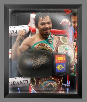 Manny Pacquiao Signed Black Boxing Glove Presented In A Dome Frame : B