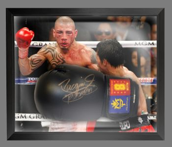 Manny Pacquiao Signed Black Boxing Glove Presented In A Dome Frame : C