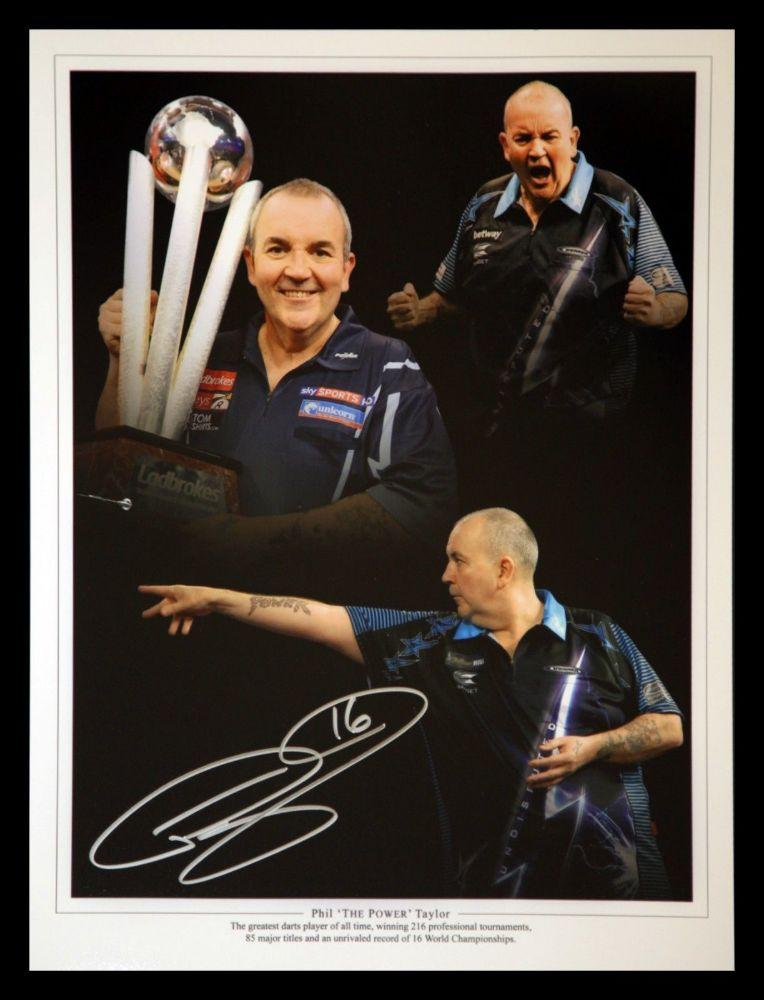 Phil Taylor Signed Darts 12x16 Photograph D