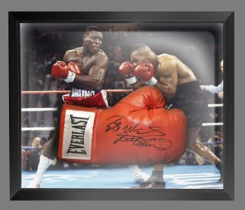Frank Bruno Signed Red Boxing Glove Presented In A Dome Frame : A