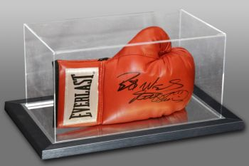 Frank Bruno Signed Red Everlast Boxing Glove In An Acrylic Case