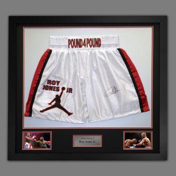 Roy Jones Jr Hand Signed And Framed Custom Made Boxing Trunks : F