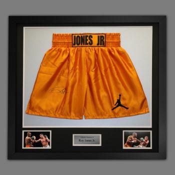 Roy Jones Jr Hand Signed And Framed Custom Made Boxing Trunks : D