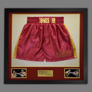 Roy Jones Jr Hand Signed And Framed Custom Made Boxing Trunks : C