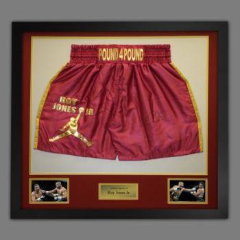Roy Jones Jr Hand Signed And Framed Custom Made Boxing Trunks : B