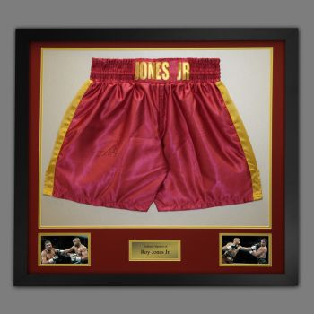 Roy Jones Jr Hand Signed And Framed Custom Made Boxing Trunks : A