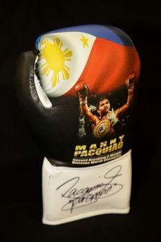 Manny Pacquiao Hand Signed Picture Boxing Glove