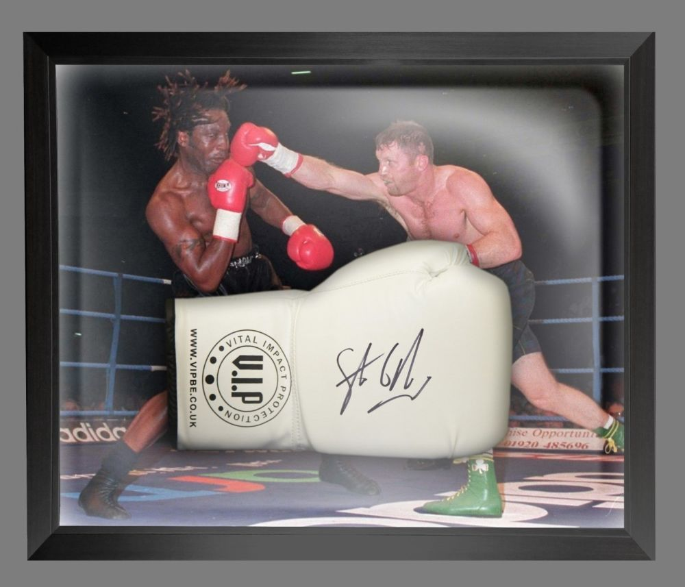 Steve Collins Signed White VIP Boxing Glove Presented In A Dome Frame : B