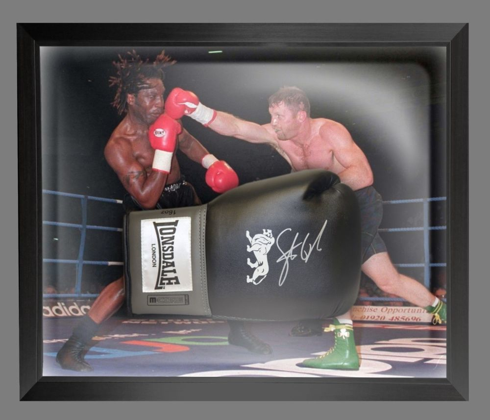 Steve Collins Signed Black Boxing Glove Presented In A Dome Frame : B