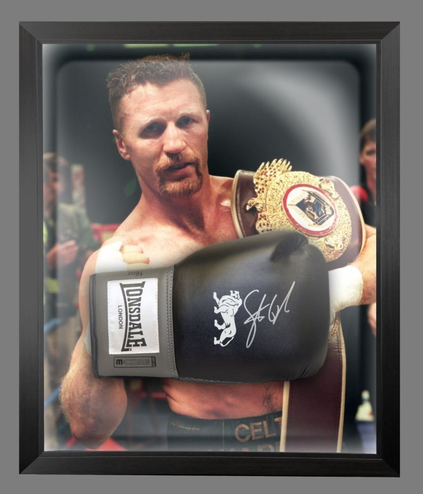 Steve Collins Signed Black Boxing Glove Presented In A Dome Frame : A