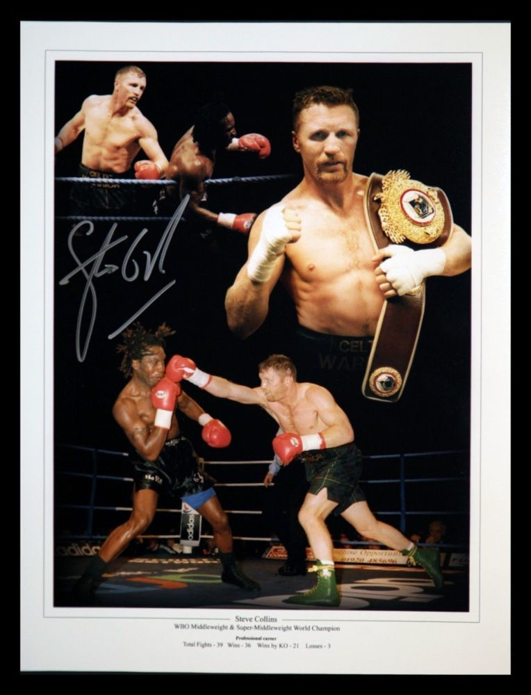 Steve Collins Hand Signed 12x16 Boxing Montage