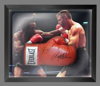 Nigel Benn And Steve Collins Dual Signed Red Boxing Glove In A Dome Frame