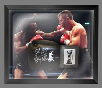 Nigel Benn And Steve Collins Dual Signed Black Boxing Glove In A Dome Frame
