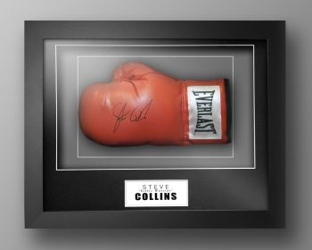 Steve Collins Signed Red Boxing Glove Presented In Our Elegance Box Frame